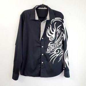 Coofandy Black Aztec Button Down Shirt